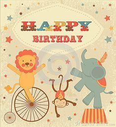 Tarjeta de cumpleaños del vintage con los animales de circo