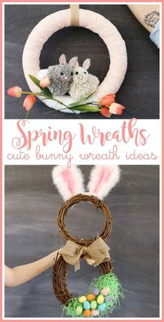 tons of cute Spring Wreath Ideas, including these DIY bunny wreaths! - Sugar Bee Crafts