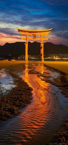 Vermillion Tide - 朱色の潮流   Itsukushima Shrine in Miyajima   Sunset, reflection, Japan   Elia Locardi