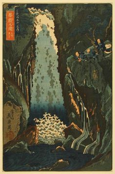 View of the Three Cascades of Kegon Waterfall, from the series Famous Places in the Mountains of Nikko  mid-1840s  Keisai Eisen  Japanese, 1790–1848