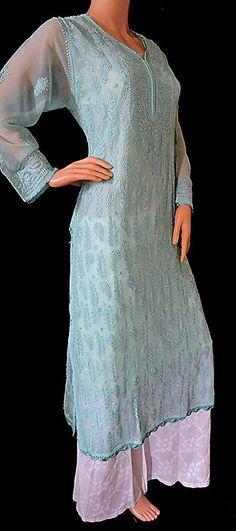 Ethnic Fashion, Indian Fashion, Lucknowi Kurta, Fashion Pants, Fashion Outfits, Chikankari Suits, Kurta Style, Suits For Women, Clothes For Women