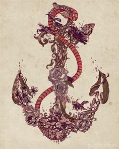 love this floral anchor ....it would be great as a tattoo