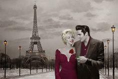 Poster Elvis Presley y Marilyn Monroe en París | Regalos Curiosos