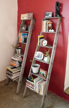 Repurpose an old wooden ladder into storage and shelves for books and more.  Salvage, Recycle, Upcycle!  For ideas and goods shop at Estate ReSale  ReDesign, in Bonita Springs, FL
