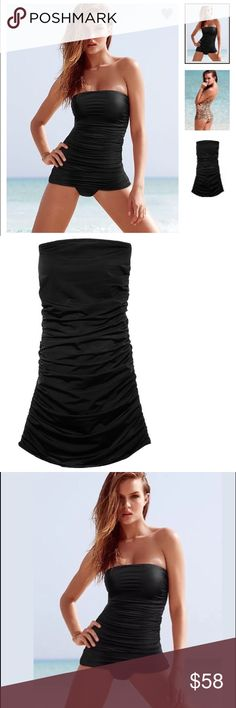 $59 Victoria's Secret Strapless Shaping Swim Dress ❤️Advanced control technology to shape and smooth curves. * Shelf bra with light, removable padding for support and shaping * Slims and smooths tummy and hips * In smooth matte fabric * Allover shirring visually slims and conceals * Fabric fits snug and tight for shaping * Pulls on; wear as a dress or pull skirt up for classic one-piece silhouette * Classic coverage: Full back, shows curves, not skin * Removable halter strap * Goldtone logo…