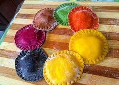 Handmade fresh ravioli, safran,carrot,tomato,spinach,chocolate,beetroot,squid ink flavors stuffed with cheese Carrot Muffins, Rice Pasta, Beetroot, Ravioli, Spinach, Carrots, Grains, Seeds, Cheese