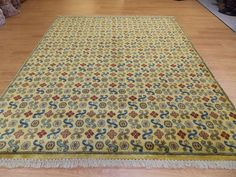 8x10 Gold Blue Red Hand Knotted Plush Wool Transitional Decorative Rug #Transitional