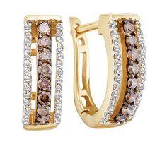 Brown Chocolate Diamond Hoop Earrings 14k Yellow Gold Round (1/2 CTW) Jewel Roses. $568.00