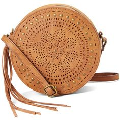 T-Shirt & Jeans Handbags Cognac Laser-Cut Circle Crossbody Bag (64 RON) ❤ liked on Polyvore featuring bags, handbags, shoulder bags, bohemian purses, cognac purse, beige purse, boho handbags and boho purses