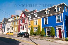Colorful jelly bean row houses, Gower Street, St. John's, Newfoundland, Canada