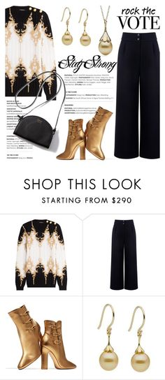 """""""Rock the Vote in Style"""" by littlehjewelry ❤ liked on Polyvore featuring Balmain, Être Cécile, Gianvito Rossi, contestentry, pearljewelry, rockthevote and littlehjewelry"""