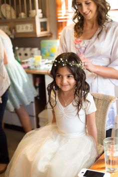 Easy (and adorable) flower girl attire: White leotard under a tulle skirt. Perfect.