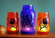 Halloween Mason Jar Candle Set on Etsy.com  #MasonJarLuminaries #Haloween #Owl #Holiday #Craft #Project #DIY