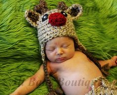 Toddler TAN Rudolph Reindeer Crochet hat GREAT photo prop or gift for 2014 Christmas