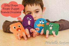 Free Printable Silly Shape Finger Puppets- could make from card stock- character puppets- for get to know characters F.A.S.T. activities