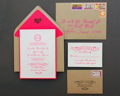 Best of 2013: DIY Projects / DIY Kraft + Neon Wedding Invitations by Antiquaria via Oh So Beautiful Paper