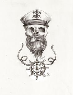 beard skull nautical tattoo pencil sketch with sailor captains hat and steering with rope detail