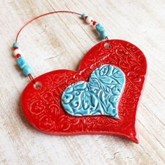 Red Ceramic Heart Wall Art Ceramic Art Mothers by TropicalEarth, $22.00