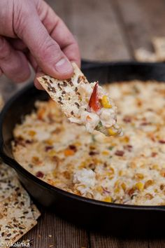 Hot and cheesy dip full of crab chunks and roasted corn. A true party pleaser! #appetizer #dip