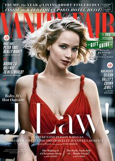 Jennifer Lawrence for Vanity Fair Holiday 2016/2017 Cover. Photograph by Peter Lindbergh. Styled by Jessica Diehl.