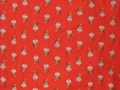 Vintage cotton quilt fabric, red with tulip-y design www.thefabricscore.com