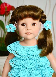 Фотография Crochet Doll Dress, Crochet Doll Clothes, Crochet Hats, Girl Dolls, Baby Dolls, Baby Patterns, Crochet Patterns, American Doll Clothes, Sweater Knitting Patterns