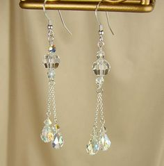Swarovski Crystal Jewelry Handmade Clear AB Crystal Tassel Earrings