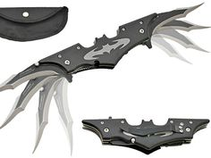 The Batman Twin Blade Batarang Style Pocket Knife is made from high grade stainless steel and held together using well secured bolts. The blades are made from 440 stainless steel and uses an assisted action open mechanism. There is also a safety locking mechanism. The blades are really sharp so this is definitely not a toy. Keep Robin away from the batarang.