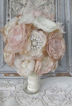 Wedding Bouquet Rhinestone and Pearls with por BurlapandBlingStudio, $175.00