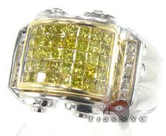 pinkie rings Canary Yellow  with Prices for men   Mens Gold Canary Grill Pinky Ring Mens Diamond Ring White Gold 14k ...