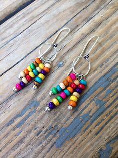 Fun Handmade Beaded Rainbow Dangle Earrings. by JupiterOak on Etsy