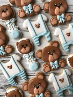 Teddy Bear Baby Shower, Baby Boy Shower, Baby Cookies, Sugar Cookies, Teddy Bear Cakes, Baby Shower Cakes, Cookie Decorating, Party Favors, Boys