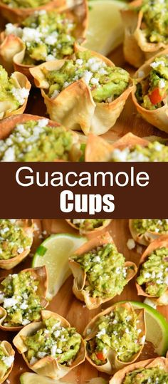 Guacamole in Crispy Cups. Simple and tasty party appetizer. They are made with wonton wrappers filled with homemade guacamole and topped with crumbled Cotija cheese. Individual Appetizers, Light Appetizers, Mexican Appetizers, Mini Appetizers, Wedding Appetizers, Easy Appetizer Recipes, Mexican Food Recipes, Birthday Party Appetizers, Party Nibbles