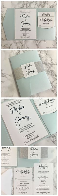 d640b41decbfe This Light Blue and Silver glitter Wedding invitation is timeless! Pocket  Wedding Invitations