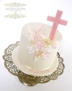 Pink Floral & Butterfly Baptism Cake - Cake by Leah Jeffery