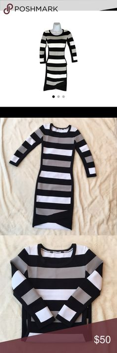 BCBG Kendall Striped Bodycon Dress Striped bodycon BCBG dress that is super flattering.   Size XS (which I can no longer fit into). Tag at the top of the dress was removed because tags bother my skin and dress is practically brand new.   Tiny stain on the sleeve that is not even noticeable. Too lazy to get it dry cleaned since it no longer fits 😩  It is on the shorter side for a bodycon dress. Selling for $67 on other sites. BCBG Dresses Mini