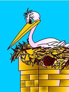 La cigüeña en su nido