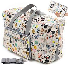 Foldable Travel Duffle Bag for Women Girls Large Cute Floral Weekender Overnight Carry On Bag for Kids Checked Luggage Bag (Z-Beige Mickey) Duffle Bag Travel, Travel Bags, Weekender, Duffle Bags, Labor Hospital Bag, Airplane Carry On, Kid Check, Checked Luggage, Kids Bags