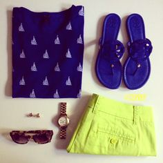 Sailboats + neon shorts = cute!  But switch in the blue flip flops with tan mocassins and we have a deal!