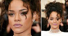 MAQUIAGENS E PENTEADOS DO MET BALL 2014   Rihanna