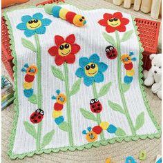 Happy Flowers & Bugs Baby Blanket! idea***.
