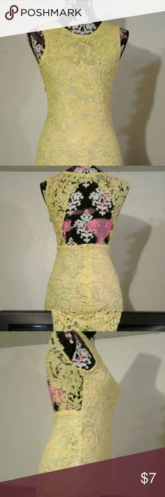 Yellow Lace Bodycon Slip on Cute sexy bodycon, great for the summer!!! In good condition,preowned worn once. Material is kind of see through i do suggest to wear a nude slip on underdress , but other than that really cute Dresses Mini