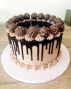 Ferrero Rocher birthday cake for today. It's all about that chocolate drip! A Ferrero Rocher birthday cake for today. It's all about that chocolate drip!A Ferrero Rocher birthday cake for today. It's all about that chocolate drip! Cake Decorating Frosting, Birthday Cake Decorating, Ferrero Rocher Torte, Fererro Rocher Cake, Patisserie Fine, Drip Cakes, Food Cakes, Gourmet Cakes, Pretty Cakes