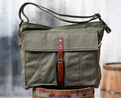 Canvas Bag / Leather Canvas Bag / Green Canvas Bag / by JooJoobs, $64.00