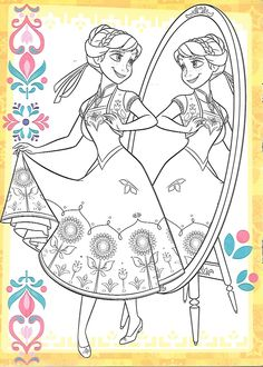Doodle Coloring, Coloring For Kids, Coloring Book Pages, Printable Coloring Pages, Disney Coloring Sheets, Frozen Sisters, Disney Paintings, Disney Princess Frozen, Colorful Pictures