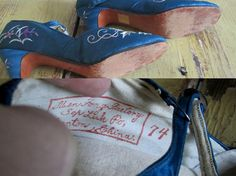 Gorgeous Vintage Floral Embroidered Blue Silk Mary Janes $74.00