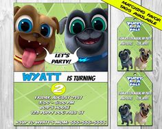 PUPPY DOG PALS BIRTHDAY PARTY INVITATIONS BBN GRAFX has the best prices for high quality invitations on Etsy! --------------------------------------------------------------------------------------------------- *******MATCHING FAVOR TAGS AVAILABLE HERE******** SAVE $1 WHEN YOU BUY BOTH