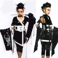 LIP Service Rare Tokyo Rose Geisha Black AND White PVC Kimono Medium Goth | eBay