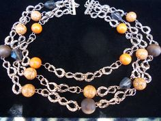 Long Vintage Orange & Brown and Grey Beaded by MartiniMermaid, $22.00