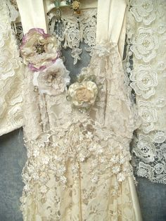 custom made boho wedding dress by Resurrection Rags...